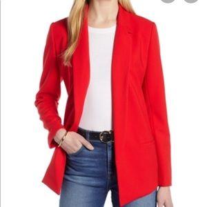 Women's Halogen Open Front Blazer, M - Red